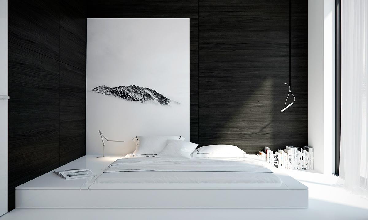 「室内设计」漂亮的黑白卧室设计  ▼这个房间呈l形,被黑色的木头和