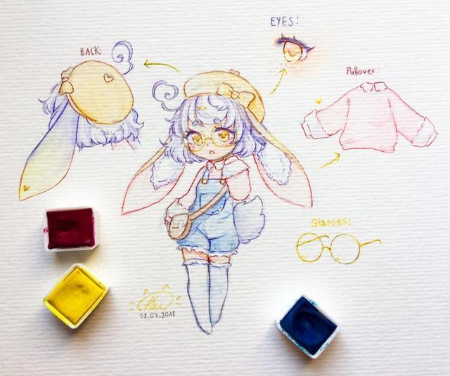 20张线稿带上色稿动漫手绘插画,彩铅水彩马克笔上色都